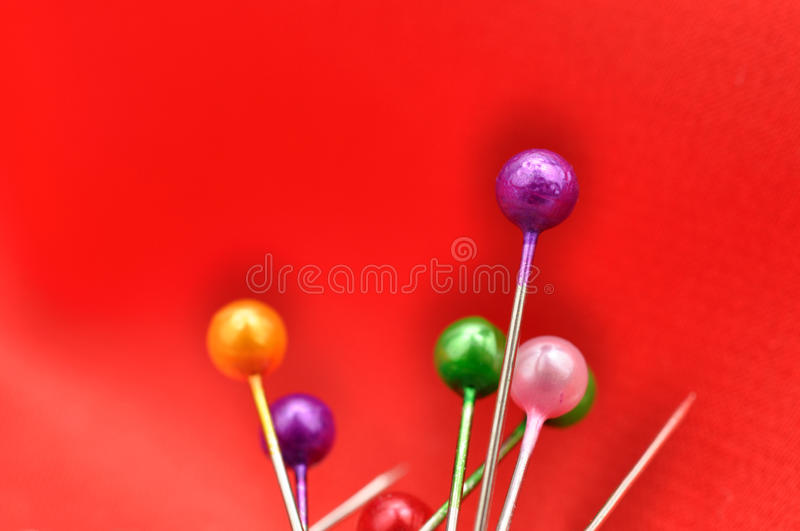 Download Straight Pins And Red Silk Stock Photo - Image: 16858170
