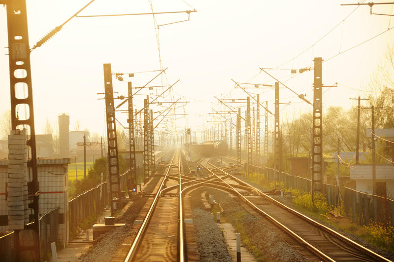 Straight Railway Bridge At Sunset. Royalty Free Stock Image