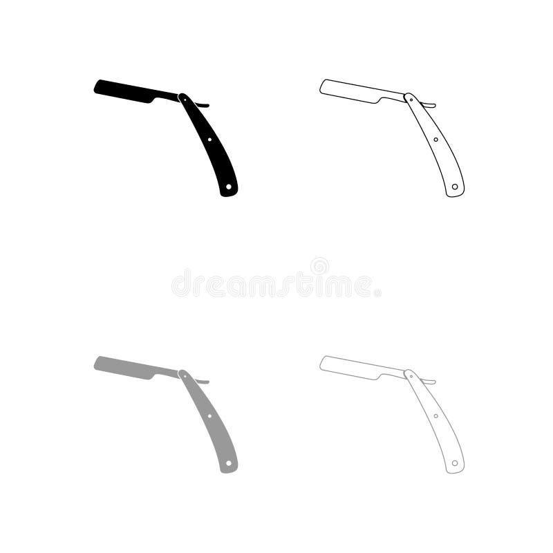 Straight razor black and grey set icon . Flat style stock illustration
