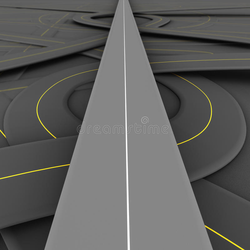 Straight road. One road running clear and straight over complicated tangled and jumbled network of other roads at the lower level, concept of vip access, special vector illustration