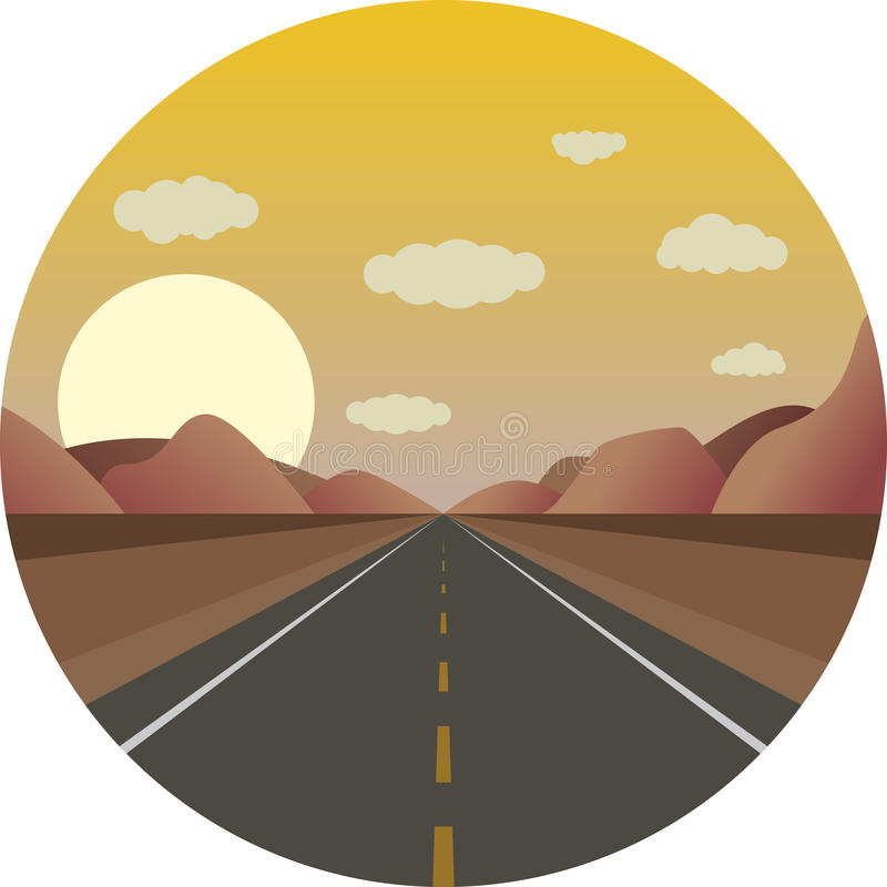 Download Straight Road Ahead At Sunrise In The Mountains Stock Vector - Image: 83713416