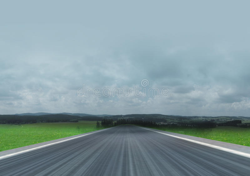 Straight road in the countryside landscape. Illustration stock images