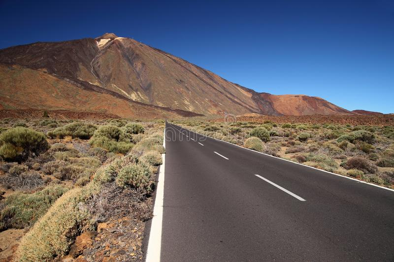 Straight road with El Teide in the background, Tenerife, Canary Islands. Straight road with El Teide in the background, Tenerife stock images