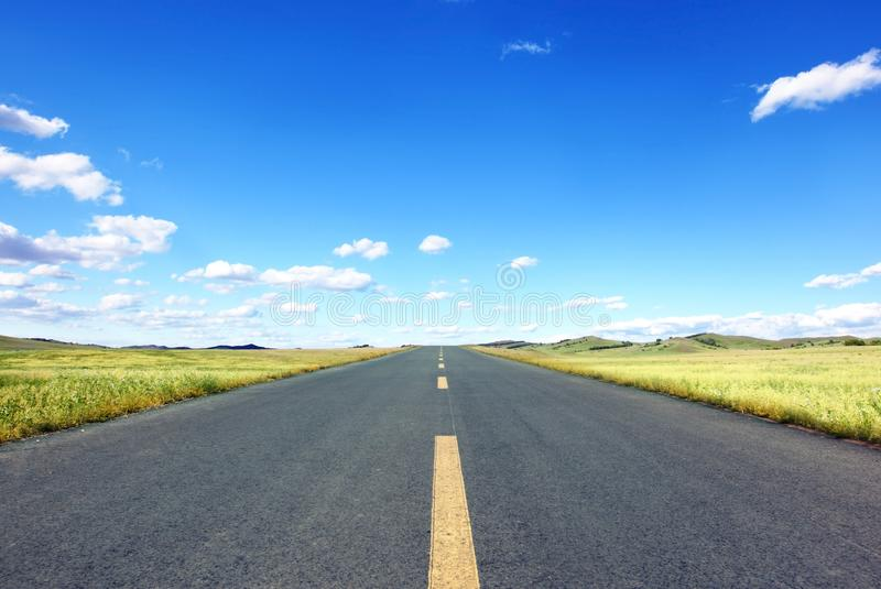 Download Straight Road in field stock image. Image of empty, hill - 15191919