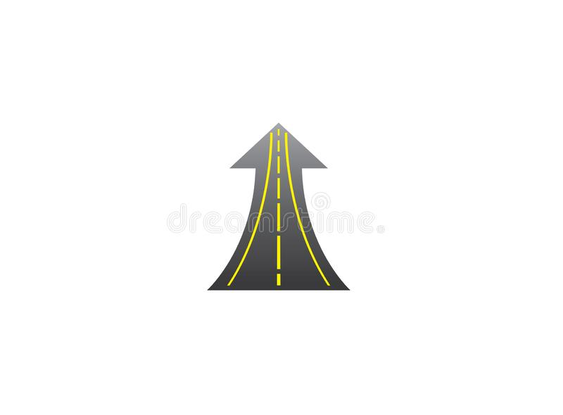 Straight road goes up in arrow to success way with yellow lines for logo design stock illustration