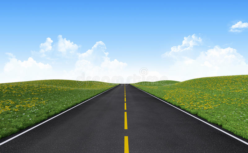 Straight road. Among green hills royalty free illustration
