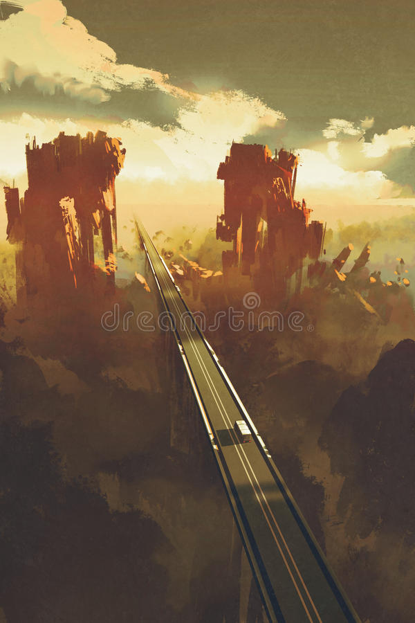 Straight road through rock canyons. Illustration,digital painting vector illustration