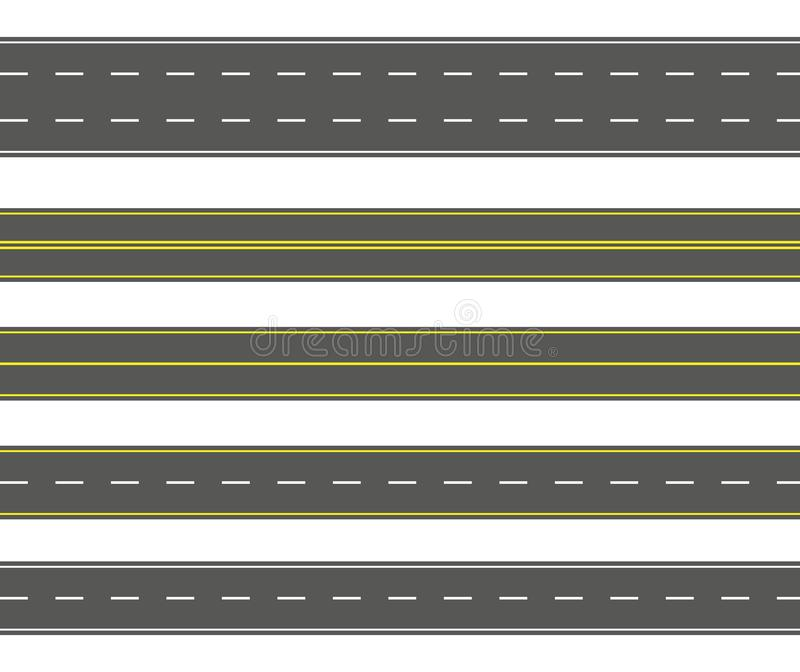 Straight road set. Seamless asphalt roads collection. Highway or roadway background royalty free illustration