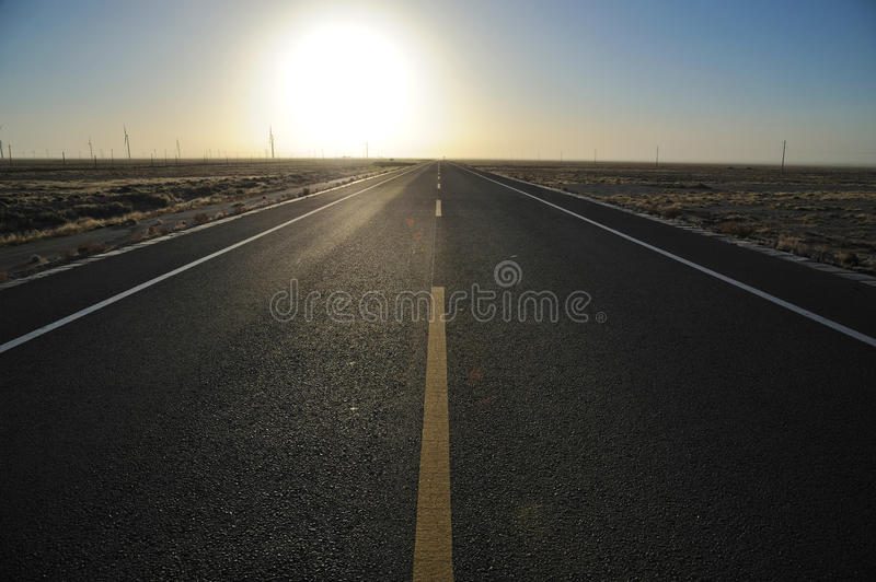 Straight  Road At Sunrise Stock Photography