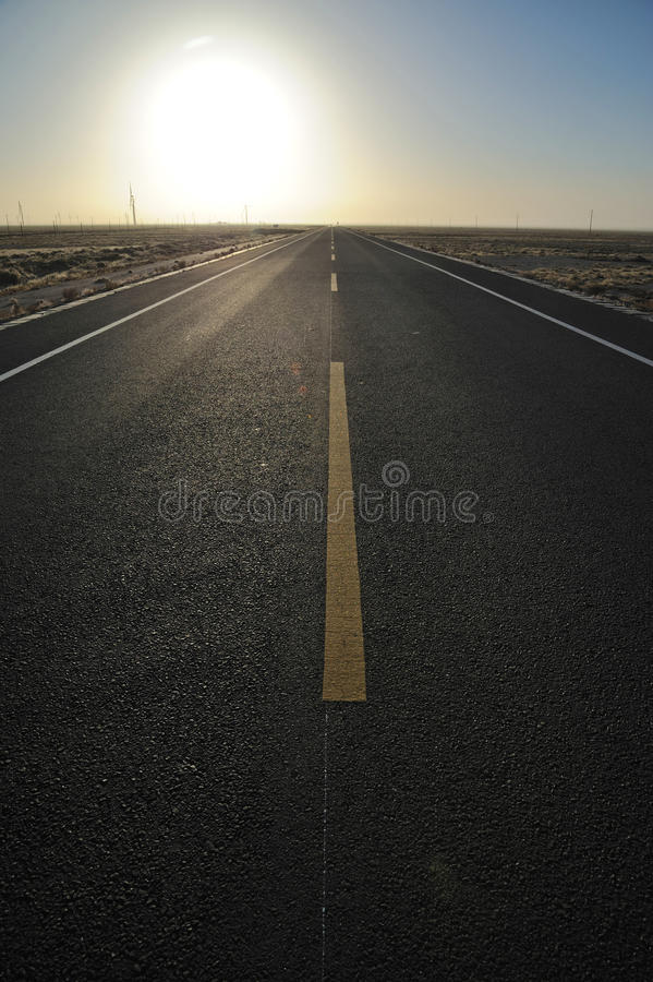 Download Straight  road at sunrise stock image. Image of direct - 28119913