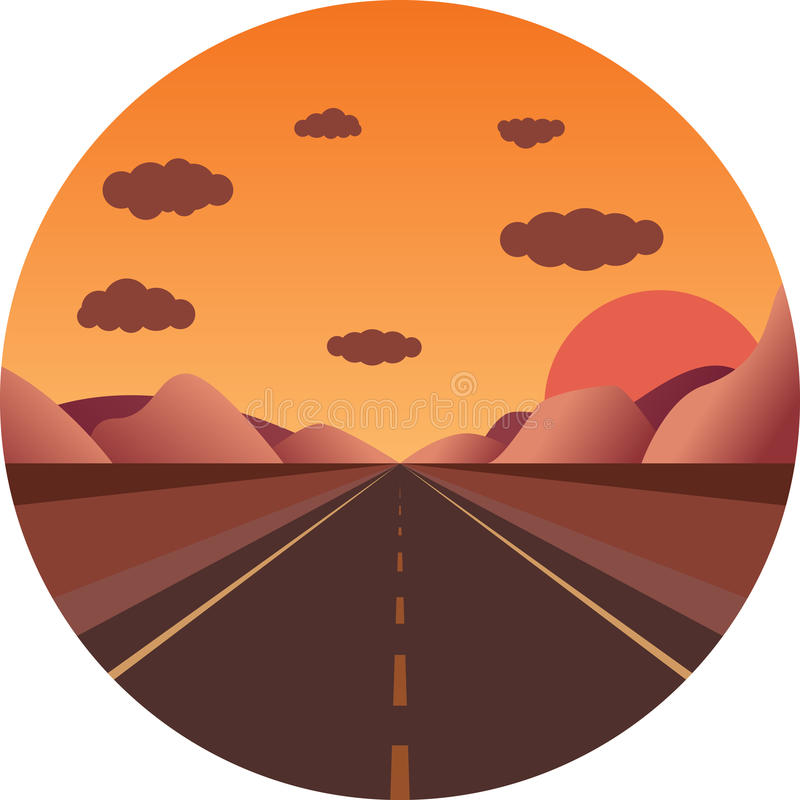 Download Straight Road Towards The Sunset In The Mountains Stock Vector - Image: 83714753
