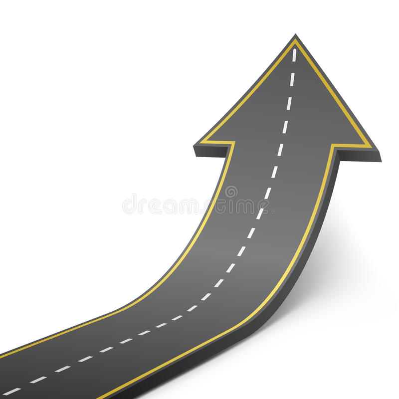 Straight road turning into ascending arrow. Concept vector illustration vector illustration