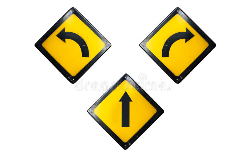 Straight, turn left and right sign is isolated on white backgrou stock photos