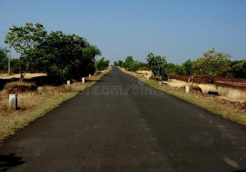 Straight village road