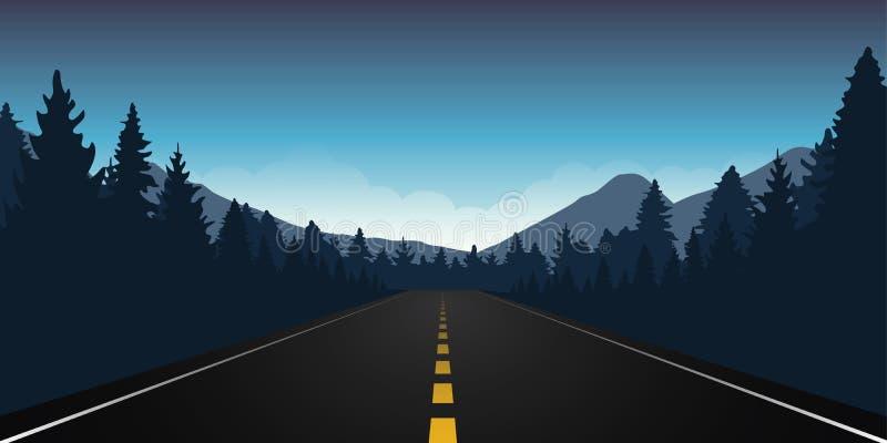 Straigthweg in het bos met blauw berglandschap vector illustratie