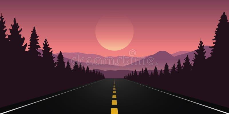 Straigthweg in het bos met purper berglandschap stock illustratie