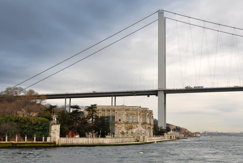 Strait of Bospohorus with 1.bridge Ortakoy royalty free stock images