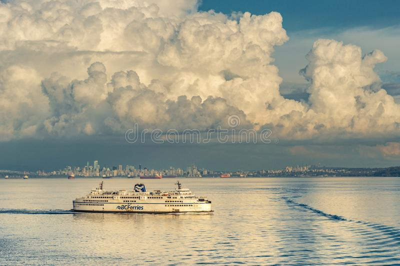 Strait of Georgia, Canada - September 12, 2018: BC Ferry ship Queen of Cowichan. BC Ferries passenger ferry Queen of Cowichan setting sail outside of English stock images