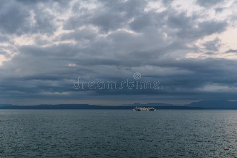 Strait of Georgia, CANADA - September 1, 2018: BC Ferry vessel near Vancouver Island British Columbia Canada. Strait of Georgia, CANADA - September 1, 2018: BC stock images