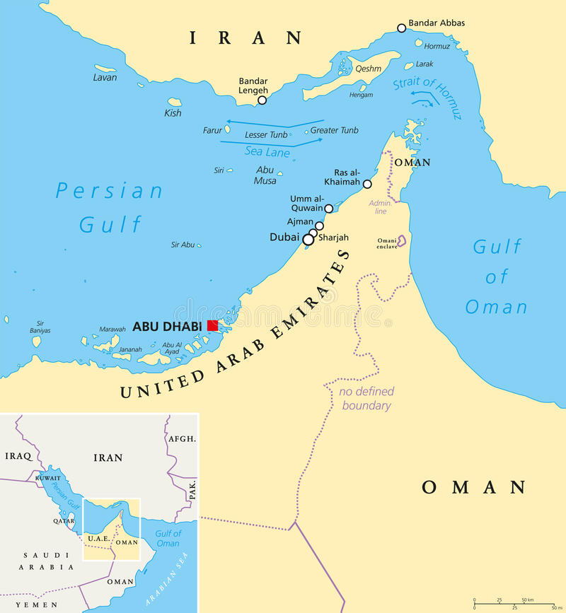 Strait Of Hormuz Abu Musa And The Tunbs Political Map Stock Photo