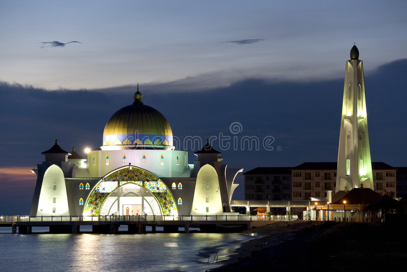 Download Straits Mosque at Dusk stock image. Image of islam, malaysia - 6710589