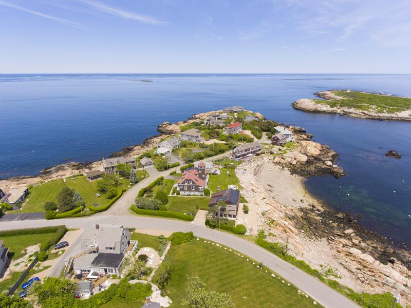 Straitsmouth Cove Landing, Cape Ann, MA, USA. Aerial view of Straitsmouth Cove Landing and Straitsmouth Island, Rockport, Cape Ann, Massachusetts, USA royalty free stock photography