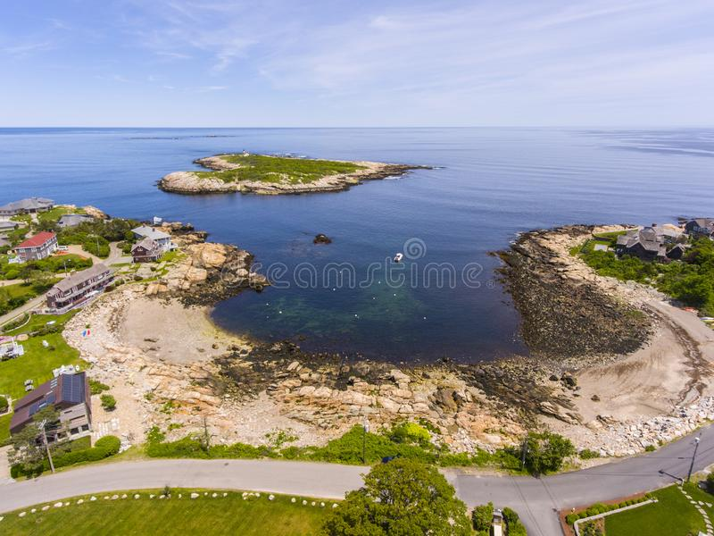 Straitsmouth Cove Landing, Cape Ann, MA, USA. Aerial view of Straitsmouth Cove Landing and Straitsmouth Island, Rockport, Cape Ann, Massachusetts, USA royalty free stock photos