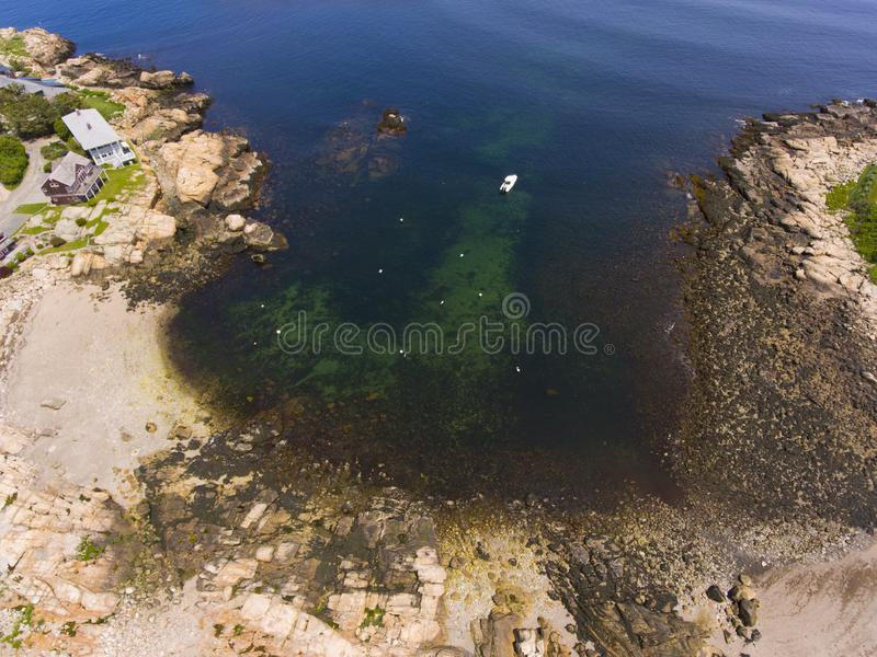 Straitsmouth Cove Landing, Cape Ann, MA, USA. Top view of Straitsmouth Cove Landing, Rockport, Cape Ann, Massachusetts, USA stock images
