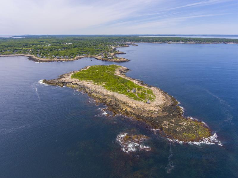 Straitsmouth Island, Cape Ann, MA, USA. Aerial view of Straitsmouth Island and the lighthouse, Rockport, Cape Ann, Massachusetts, USA. Straitsmouth Island stock photo