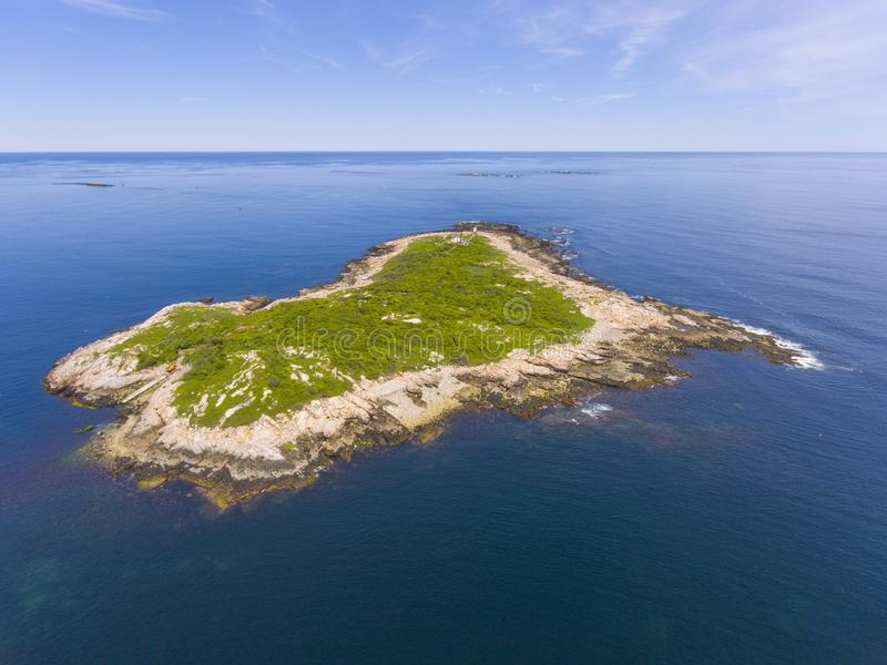 Straitsmouth Island, Cape Ann, MA, USA. Aerial view of Straitsmouth Island and the lighthouse, Rockport, Cape Ann, Massachusetts, USA. Straitsmouth Island royalty free stock photo