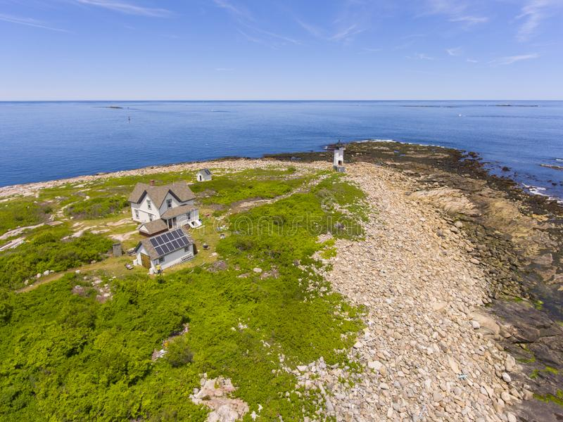 Straitsmouth Island Lighthouse, Cape Ann, MA, USA. Aerial view of Straitsmouth Island Lighthouse on Straitsmouth Island, Rockport, Cape Ann, Massachusetts, USA stock images