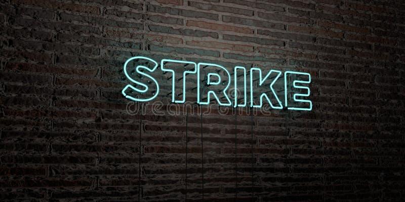 STRAJK - Realistyczny Neonowy znak na ściana z cegieł tle - 3D odpłacający się królewskość bezpłatny akcyjny wizerunek ilustracja wektor