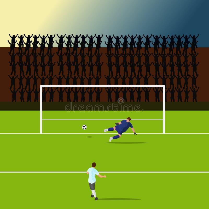 Strajkowiczy gracze strzelają cel Ale bramkarz uderzał innego sposób sylwetką doping jako tło ilustracja wektor