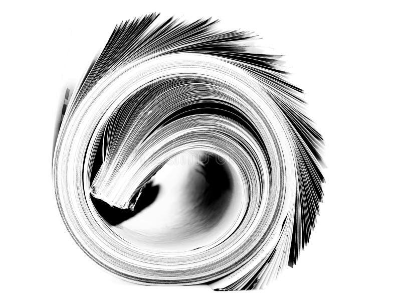 Strak opgerold zwart-wit tijdschrift geïsoleerd op wit stock afbeelding