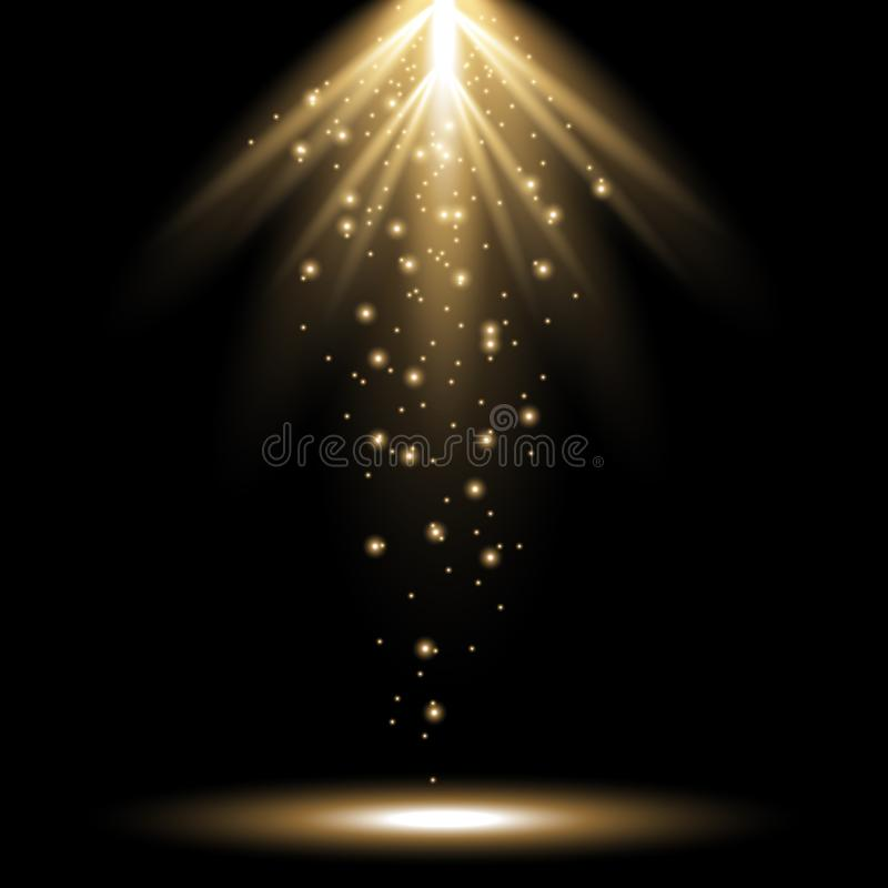 Stralen van licht van hierboven, gouden kleur royalty-vrije stock foto