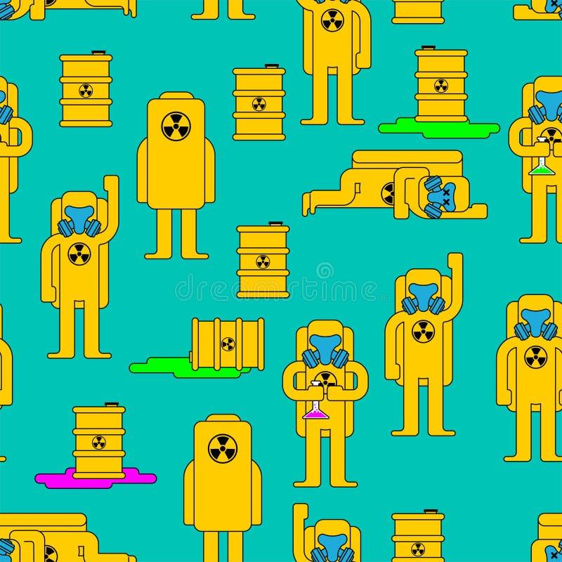 Stralingspatroon Giftig vat Geel Kostuum Chemische Biohazard stock illustratie