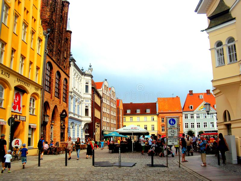 STRALSUND, GERMANY, August 2014 - Market square with colourful ancient buildings royalty free stock photos