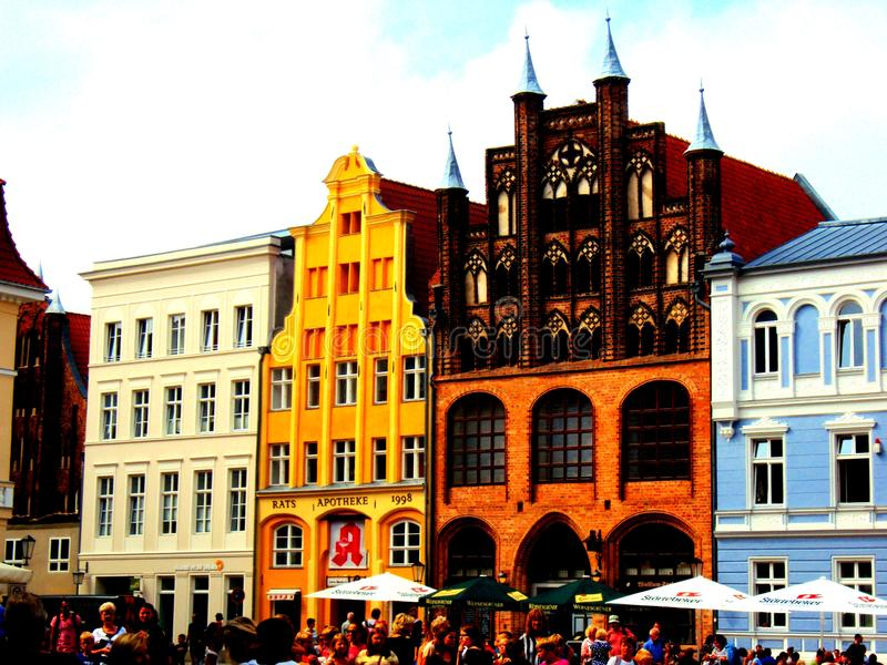 STRALSUND, GERMANY, August 2014 - Market square with colourful ancient buildings stock photography