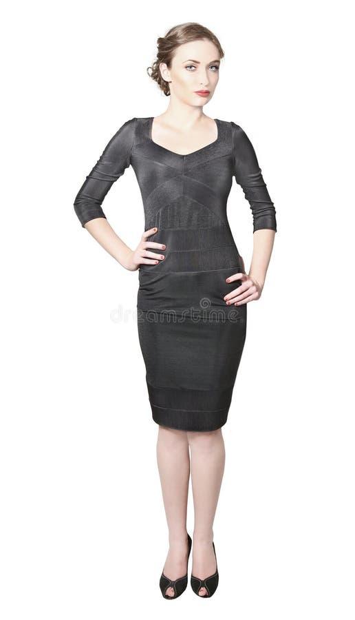 stram slitage kvinna för svart klänning royaltyfri bild