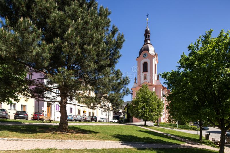 Stramberk, repubblica Ceca Chiesa di Jan Nepomucky immagine stock libera da diritti