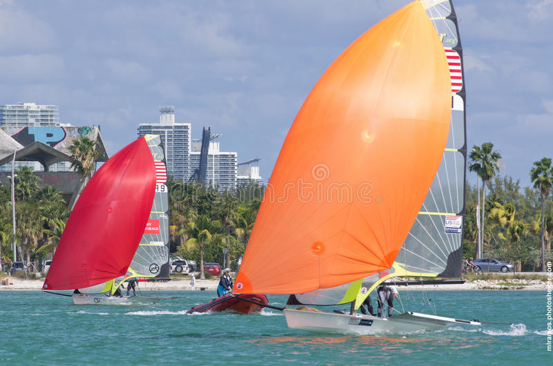 Strammer & Brown lead Funk & Aakhus at the 2013 ISAF World Sailing Cup in Miami off Virginia Key. MIAMI, February 2, 2013 - Theater-style racing is designed to stock photos