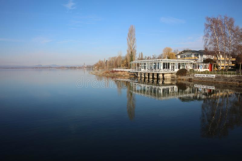 The Strandcafe Mettnau in Radolfzell at Lake Constance. Germany stock photography