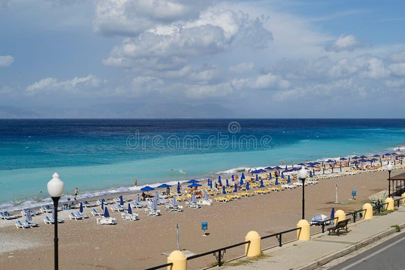 Strand ö av Rhodes royaltyfri bild
