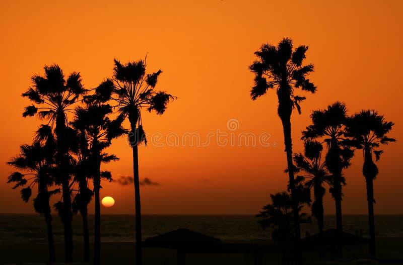 Strand 3 van de zonsondergang stock afbeeldingen