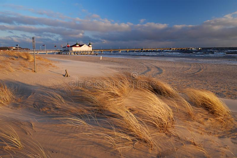 Strand in Ahlbeck, Usedom-Eiland, Duitsland stock foto's