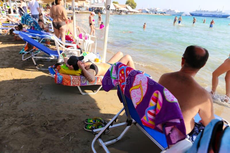 Strand in Athene, Griekenland stock foto's