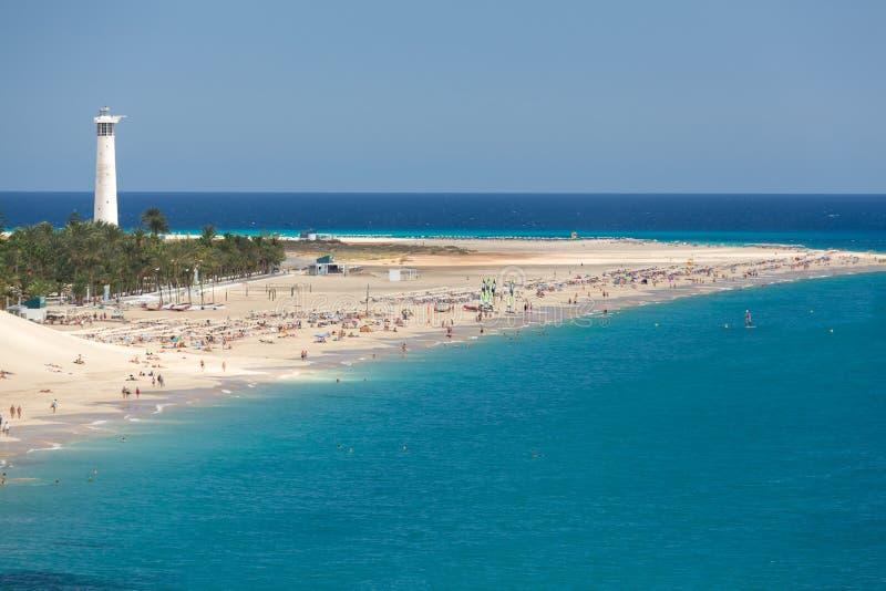 Strand av Morro Jable, kanariefågelö Fuerteventura royaltyfria bilder