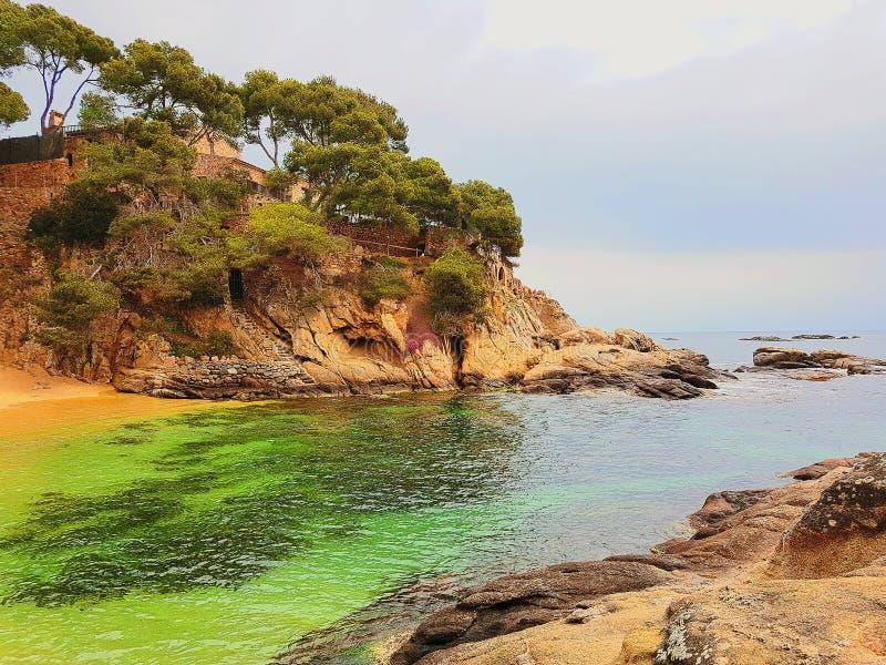 Strand av Platja D Aro, Costa Brava, Spanien arkivbilder