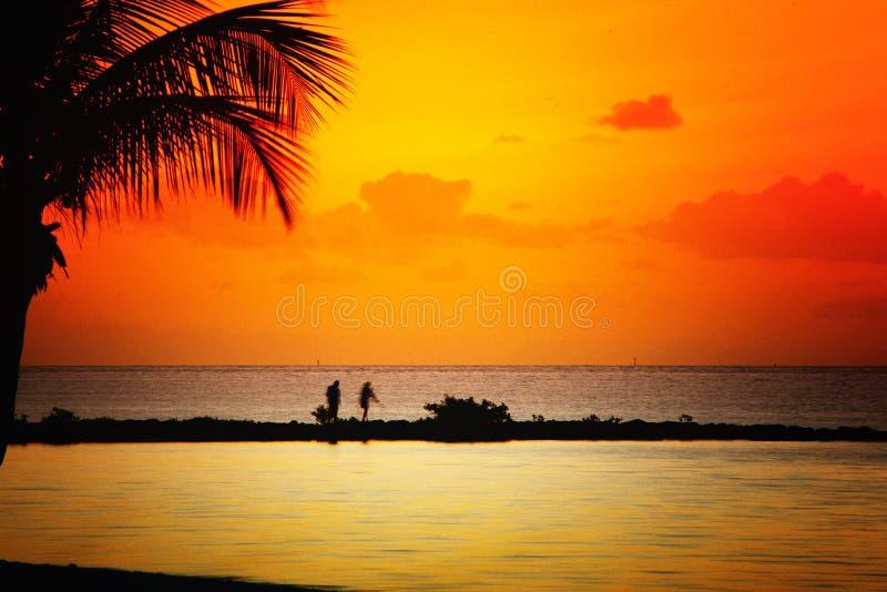Strand bei Sonnenuntergang lizenzfreies stockfoto