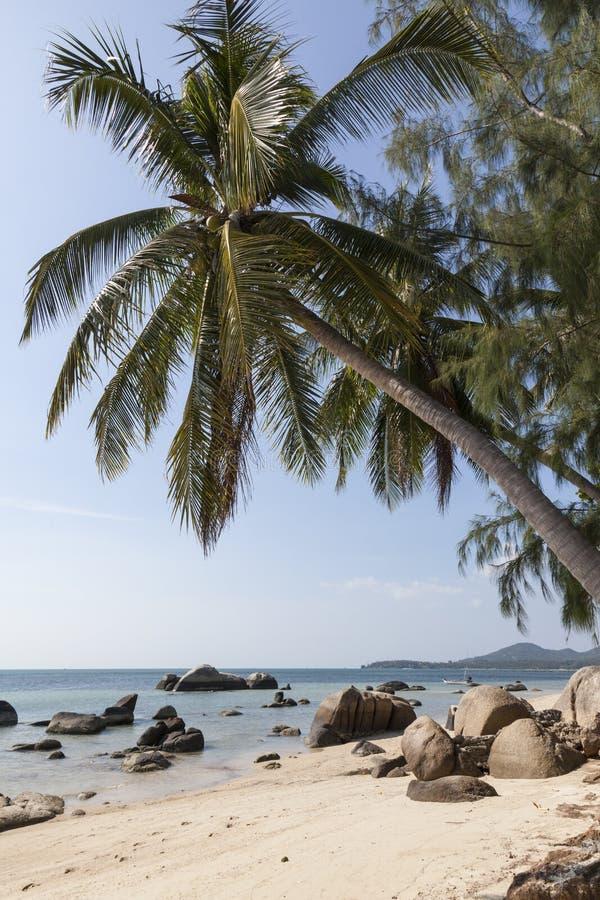 Strand bij tropisch eiland royalty-vrije stock foto's